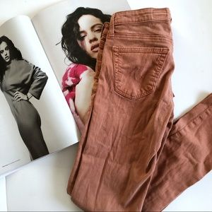 AG Anthropologie Slim Stevie Ankle Orange Jeans